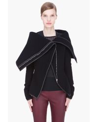 Gareth Pugh - Drape Jacket with Leather Trim in Black - Lyst