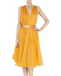 Alexander McQueen - Yellow Belted Silk-Chiffon Dress - Lyst