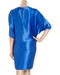 Amanda Wakeley - Blue Hammered Silk-Satin Dress - Lyst