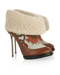 Bally | Brown Mame Shearling and Brocade Ankle Boots | Lyst