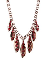 BaubleBar - Red Ruby Leaf Necklace - Lyst
