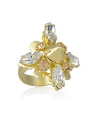 Bing Bang | Metallic Vivienne 14karat Gold-Plated Swarovski Crystal Ring | Lyst