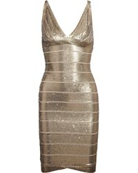 Hervé Léger | Metallic Sequined Bandage Dress | Lyst