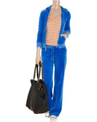 Juicy Couture - Blue Embellished Velour Track Pants - Lyst