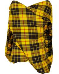 Junya Watanabe | Yellow Plaid Wool Top | Lyst