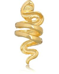 Kenneth Jay Lane - Metallic Goldplated Crystal Serpent Ring - Lyst