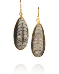 Kevia | Metallic Goldvermeil Crystal and Fossil Stone Earrings | Lyst
