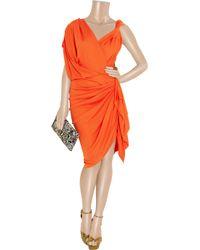 Lanvin - Orange Draped Crepe-jersey Dress - Lyst