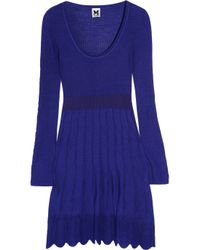 M Missoni | Blue Crochet-knit Cotton-blend Mini Dress | Lyst