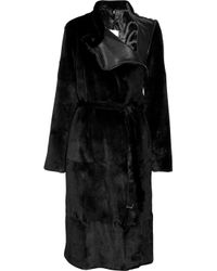 Maison Margiela | Black Diagonal Wool Coat | Lyst