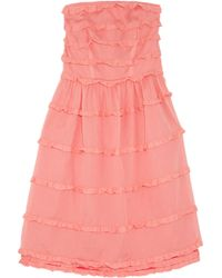 Marc By Marc Jacobs | Purple Salmon Cotton Tiered Strapless Dea Dress | Lyst
