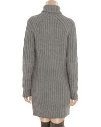 Michael Kors - Gray Knitted Cashmere Turtleneck Sweater Dress - Lyst