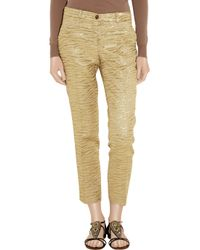Michael Kors   Cropped Metallic Brocade-crepe Tapered Pants   Lyst