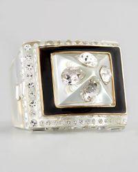 Rachel Zoe   White Pave Crystal Enamel Ring   Lyst