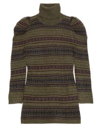 Ralph Lauren Black Label | Green Mutton-sleeve Cashmere Turtleneck Sweater | Lyst