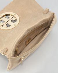 Tory Burch   Natural Glitter Logo Clutch Bag Light Gold   Lyst