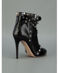 Valentino | Black Strappy Studded Ankle Boot | Lyst