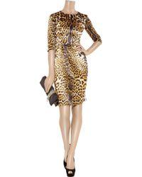 Saint Laurent - Brown Leopard Print Silk Satin Dress - Lyst