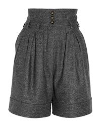 Saint Laurent | Black Wool-blend Tweed Shorts | Lyst