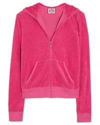 Juicy Couture | Red Basic Terry Long Sleeve Zip Track Jacket | Lyst