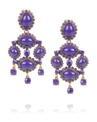Oscar de la Renta | Blue Pear-shaped Stone Clip-on Earrings | Lyst