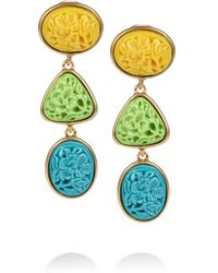 Oscar de la Renta - Metallic 24karat Gold-Plated Carved Cabochon Clip Earrings - Lyst