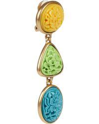 Oscar de la Renta | Metallic 24karat Gold-Plated Carved Cabochon Clip Earrings | Lyst