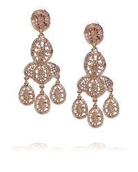 Oscar de la Renta - Pink Rose Gold-Plated Tiered Clip Earrings - Lyst