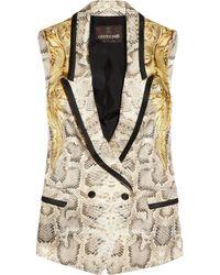 Roberto Cavalli - White Snakeprint Silk Vest - Lyst