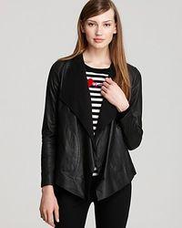 DKNY - Black Long Sleeve Leather Drape Front Jacket - Lyst