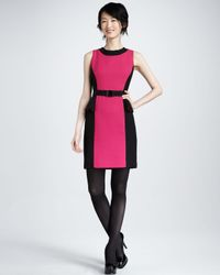 Milly | Pink Olivia Belted Dress Fuchsia | Lyst