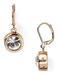 T Tahari   Gold Circle Crystal Drop Earrings   Lyst
