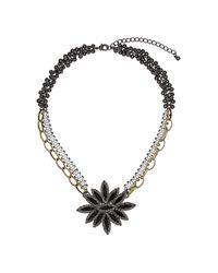 TOPSHOP - Black Premium Navette Flame Necklace - Lyst