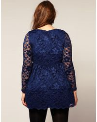 ASOS Collection - Red Asos Curve Lace Dress with Long Sleeve - Lyst