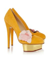 Charlotte Olympia   Gold Dolly Suede Platform Pumps   Lyst