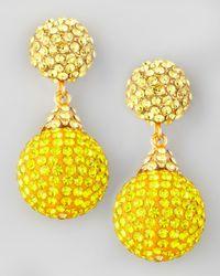 Jose & Maria Barrera - Yellow Pave Crystal Doubledrop Earrings  - Lyst