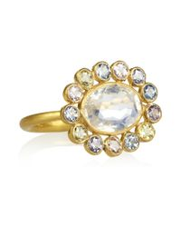 Marie-hélène De Taillac | Metallic Marguerite 22karat Gold Sapphire and Moonstone Ring | Lyst