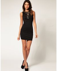 ASOS Collection - Black Asos Mesh Bodycon Dress with Jewelled Collar - Lyst