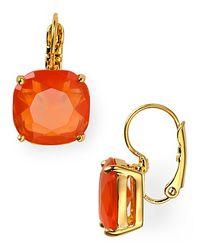 kate spade new york - Orange Small Square Leverback Earrings - Lyst