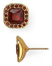 kate spade new york | Red Pave Surround Stud Earrings | Lyst