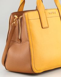 Miu Miu - Yellow Vitello Leather Satchel Bag - Lyst