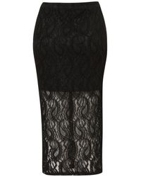 Topshop | Black Paisley Lace Tube Skirt | Lyst