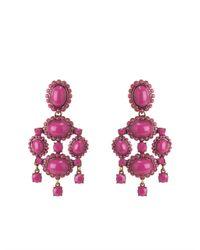 Oscar de la Renta | Pink Opaque Cabachon Drop Earring | Lyst