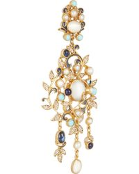 Percossi Papi | Metallic Goldplated Multistone Chandelier Earrings | Lyst