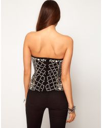ASOS Collection | Black Asos Corset with Pearl Grid Embellishment | Lyst