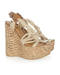 Lanvin | Multicolor Rope and Snake-print Cork Wedge Sandals | Lyst