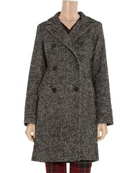 MICHAEL Michael Kors | Black Shearling Trimmed Tweed Coat | Lyst