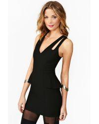 Nasty Gal - Crossover Peplum Dress Black - Lyst