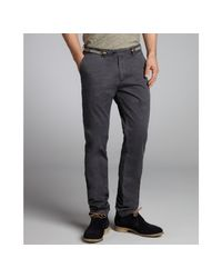 Scotch & Soda - Gray Brushed Cotton Suspender Belt Flat Front Pants for Men - Lyst