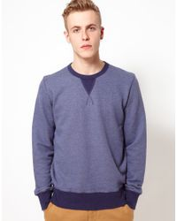 YMC - Blue Sweatshirt with Contrast Rib for Men - Lyst